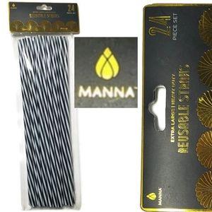 Manna Reusable plastic straws dishwasher striped